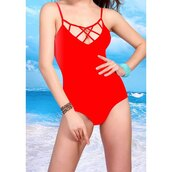 swimwear,red,one piece swimsuit,summer,beach,sexy,trendsgal.com