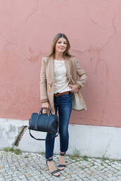 the working girl,t-shirt,jeans,shoes,bag,coat,belt,mid heel sandals