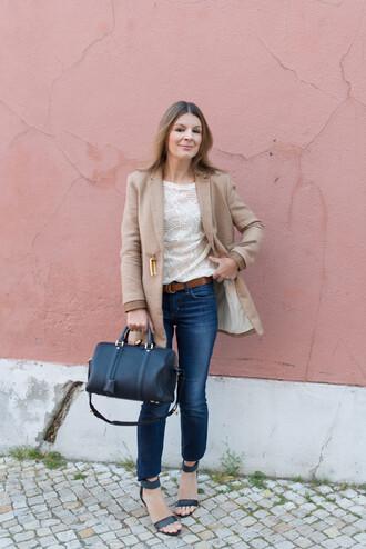 the working girl t-shirt jeans shoes bag coat belt mid heel sandals