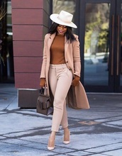 top,monochrome,brown top,nude pants,monochrome outfit,blazer,work outfits,office outfits,pants,felt hat,hat,bag,pumps
