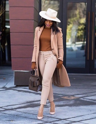 top monochrome brown top nude pants monochrome outfit blazer work outfits office outfits pants felt hat hat bag pumps