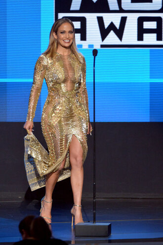 dress gold gold dress gown prom dress jennifer lopez sandals red carpet dress amas 2015 slit dress shoes