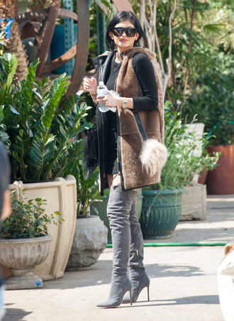 jacket furry coat kylie jenner thigh-high boots