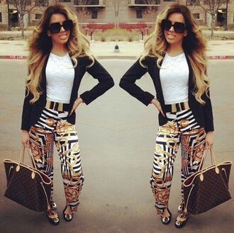 pants stripes gold black white chain link ring circles wheels girly dressy fashion