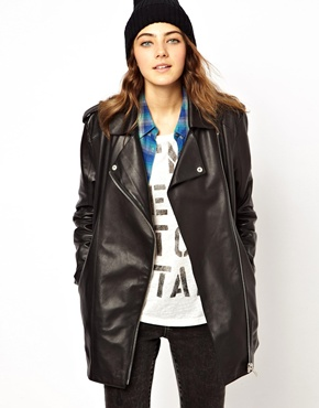 ASOS | ASOS Premium Longline Boyfriend Leather Jacket at ASOS