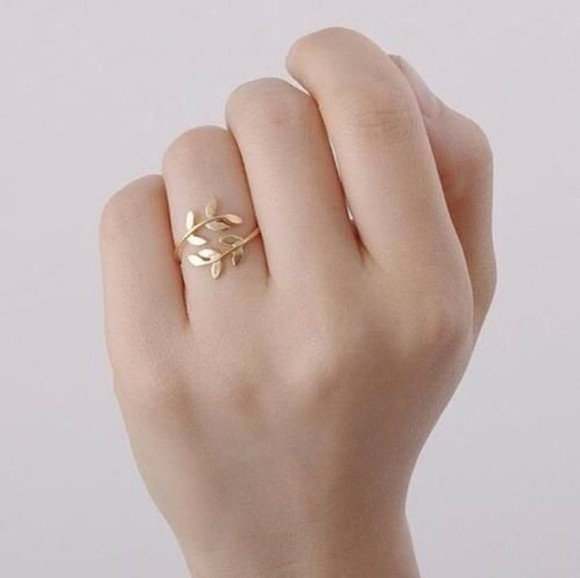 gold jewels ring leaf leaf ring,