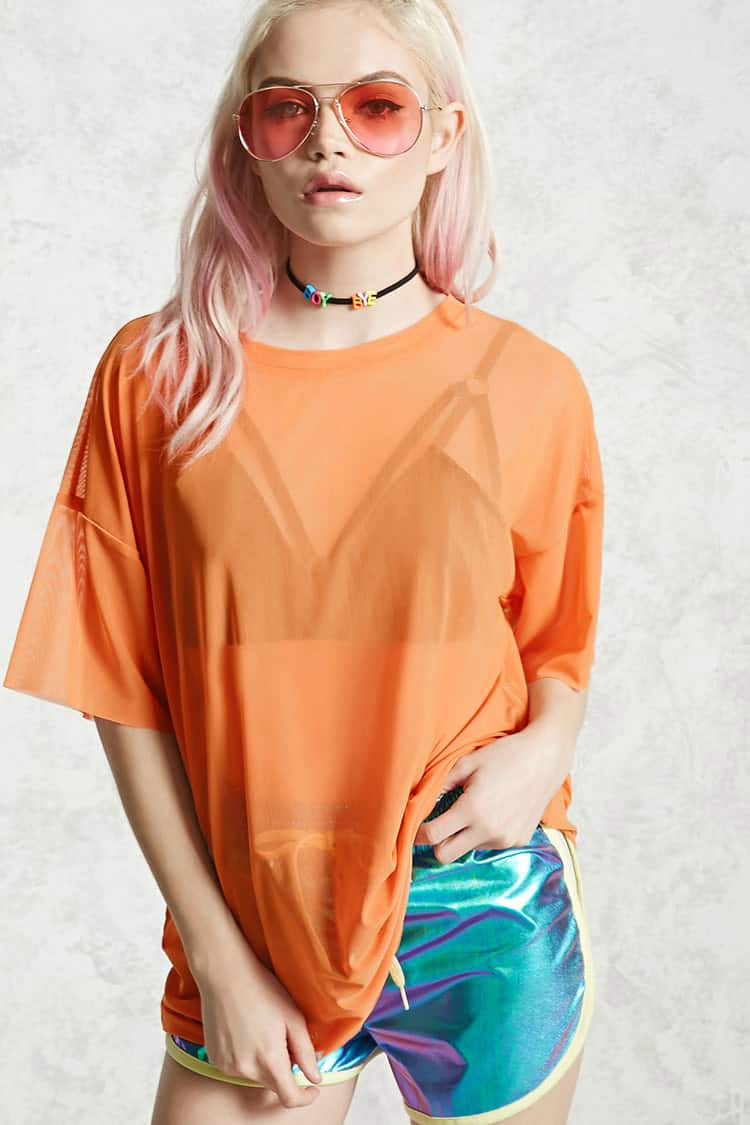Shoptagr | Boxy Sheer Tee by Forever 21