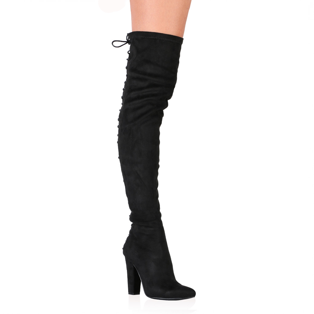 a0cbcbe8852 Stevie Over the Knee Boots in Black Faux Suede