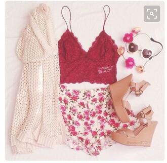 blouse cute floral bandeau summer lace