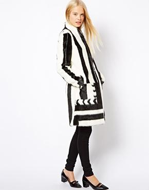 ASOS | ASOS Longline Mono Patterned Faux Fur Coat at ASOS
