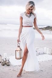 dress,two-piece,maxi skirt,slit,slit skirt,white skirt,white top,lace,all white everything,all white no socks,prom,prom dress,white,white white,whte,crop,crop tops,cropped,white shirt,white outfits,white outfit,white two piece,two piece pants & shirt,sabo skirt,beach wedding,slit maxi skirt,skirt