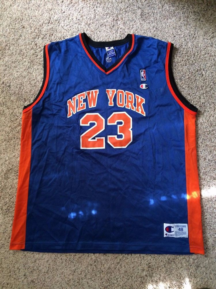 premium selection 795e3 f5f89 Vintage Champion Marcus Camby New York Knicks Jersey #23 Mens XL 48 Blue EUC