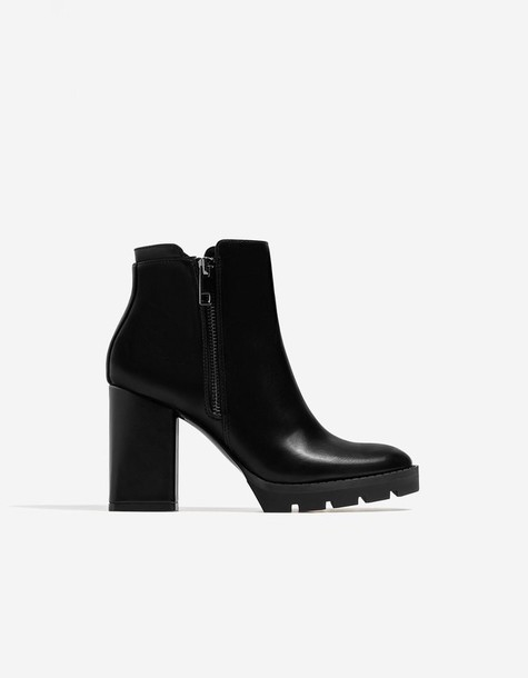 Stradivarius ankle boots black shoes