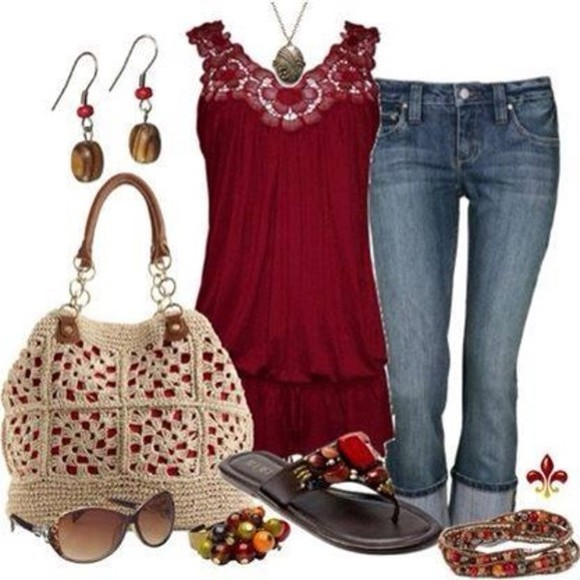 red lace sleeveless tank top blouse