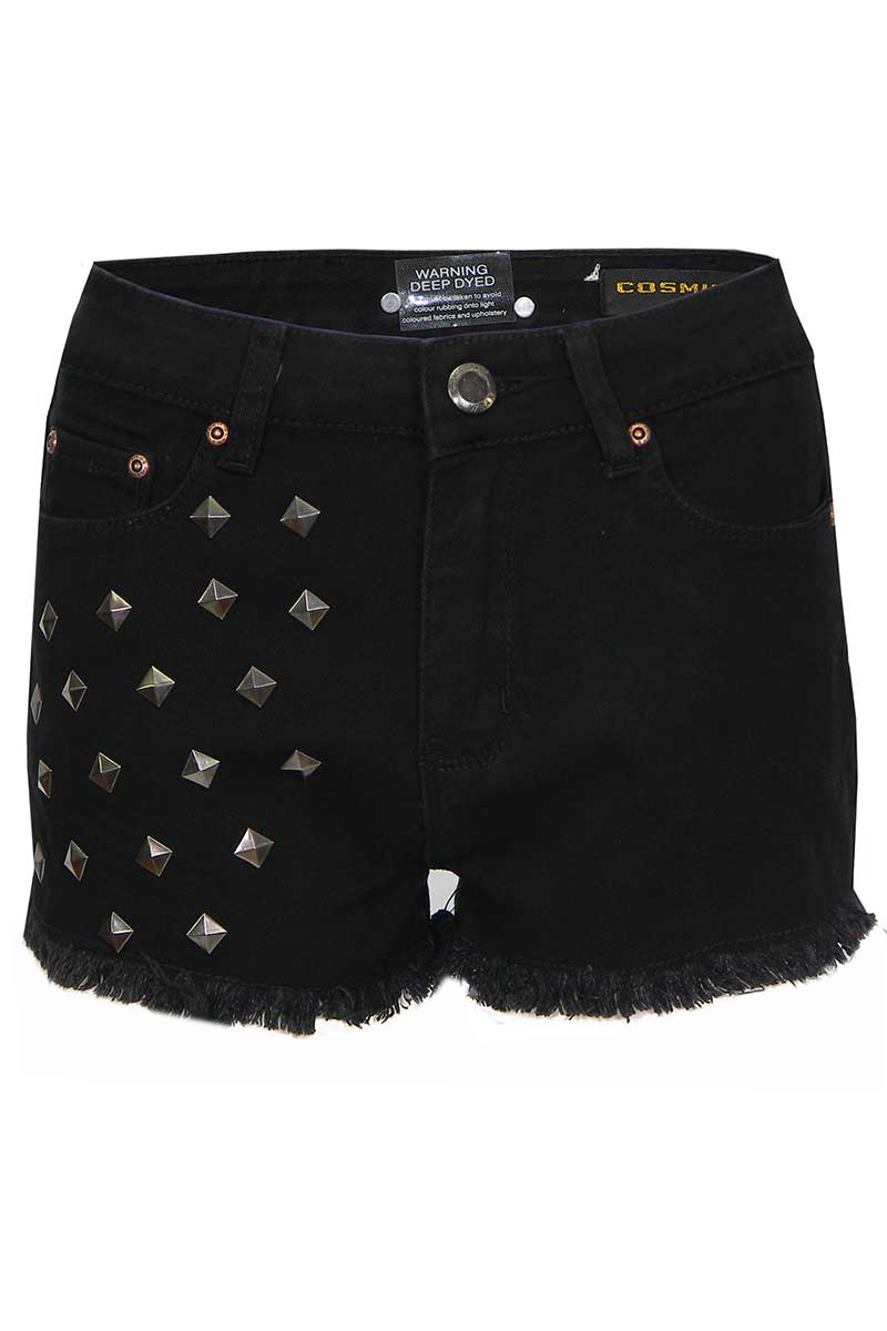 Hatchi Black Denim Hot Pants with Fringing and Studs