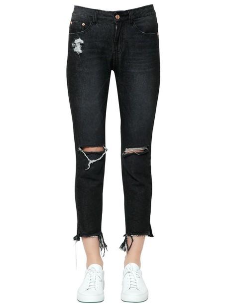 STEVE J & YONI P Destroyed Cotton Denim Jeans in black