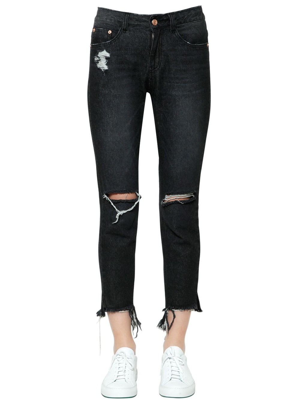 STEVE J & YONI P Destroyed Cotton Denim Jeans in black