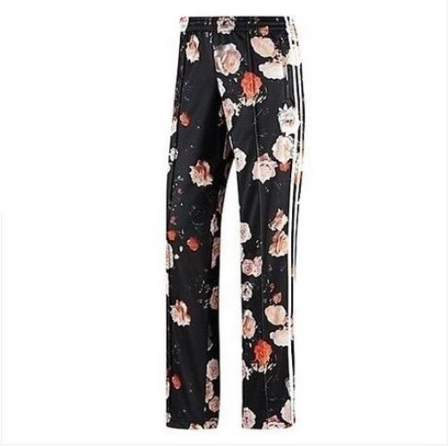 New adidas firebird rose flower black trousers pants