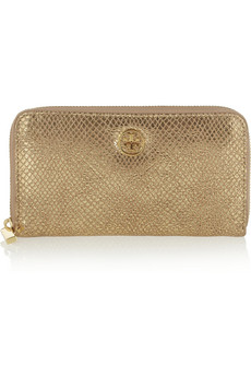Continental metallic snake-effect suede wallet | THE OUTNET