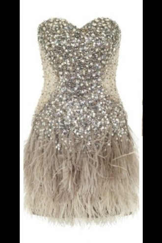dress sparkle feathers prom short tan creame cream sweetheart neckline sweetheart neckline feathered bottom bedazzled boddest sparkly body fitted body