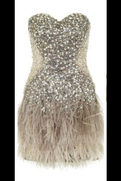 dress prom short sweetheart neckline sparkly feathers tan creame cream sweetheart neckline feathered bottom bedazzled boddest sparkly body fitted body