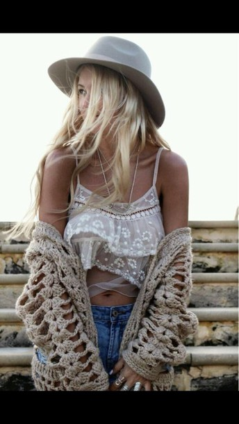 shirt white lace crop top cardigan crochet