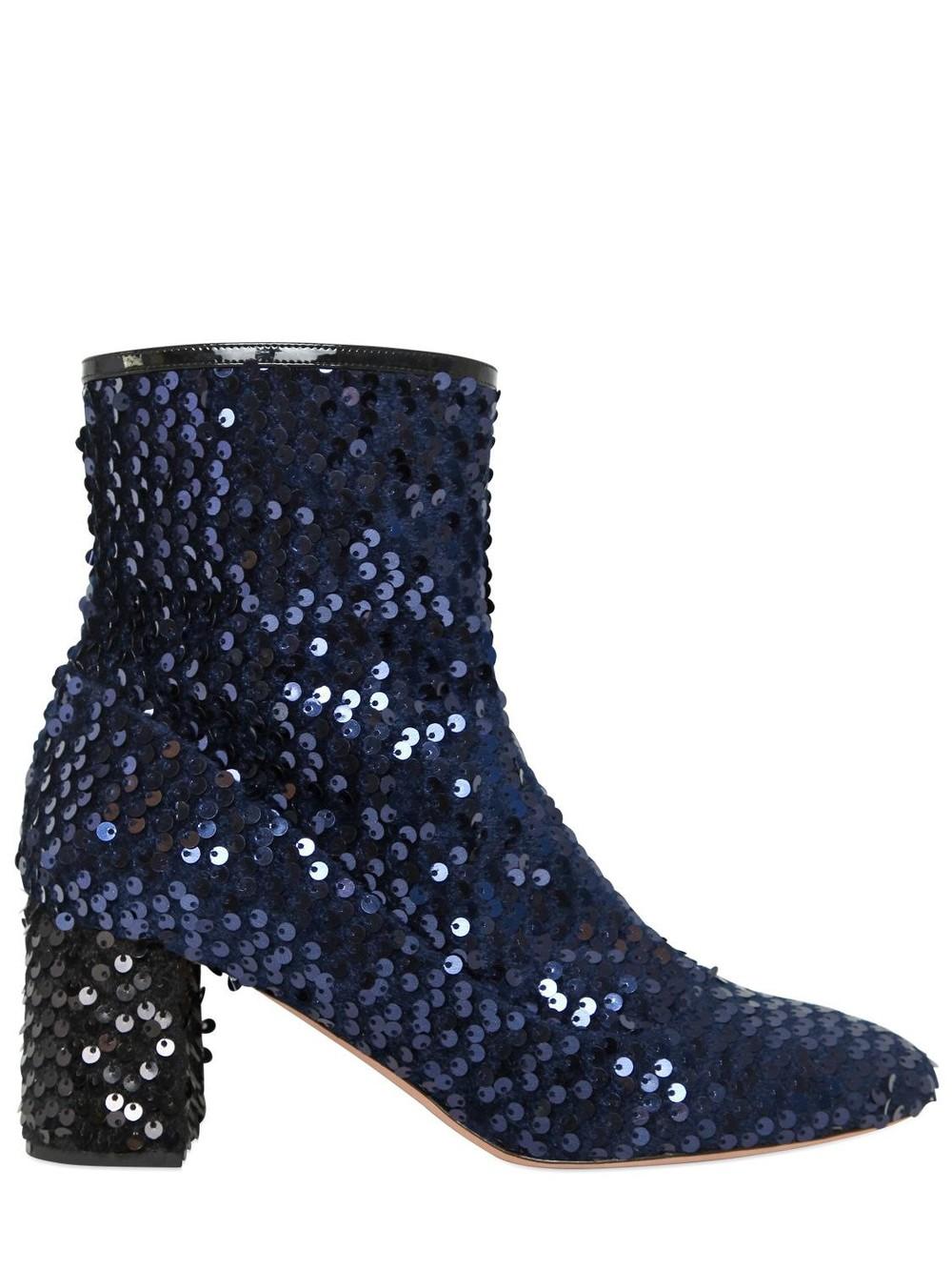 ROCHAS 60mm Sequined Velvet Ankle Boots in blue