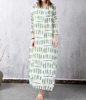 dress,maxi dress,loose print gown