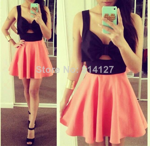 2014 hot women girls celeb bows cutout backless coral skater dress bandage bodycon outfit wedding party cocktail clubwear on Aliexpress.com