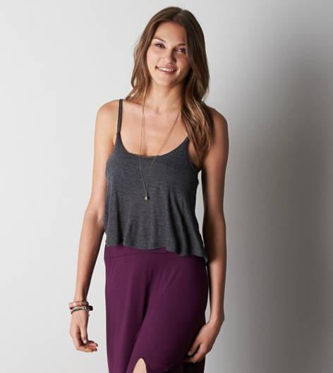 Don't Ask Why Cropped Swing Tank, Heather Grey   American Eagle Outfitters