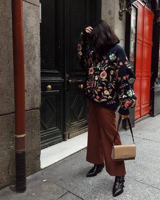 sweater tumblr floral floral sweater pants brown wide-leg pants bag nude bag boots black boots pointed boots fall outfits bomber jacket floral jacket embroidered jacket outfit idea