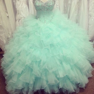 dress teal poofy quinceanera dress