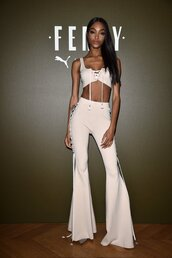 pants,paris fashion week 2016,fenty x puma,jourdan dunn,top,lace up,crop tops,high waisted,nude,party outfits,clubwear,sexy,sexy outfit,cute,girly,celebrity,celebrity style,celebstyle for less,dope,red carpet,black girls killin it,pink,two-piece