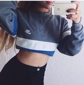 shirt,sweatshirt,vintage shirt,vintage,sweater,style,clothes,fashion,nike sweater,nike,blue,crop tops,cropped sweater,crop top sweater,crop top hoodie,grey sweater,urban,streetwear,streetstyle,tumblr sweater,tumblr,tumblr girl,tumblr clothes,long sleeves,long sleeve prom dresses,dope,dope wishlist,swag,high waisted jeans,pretty,girly,tank top,grey,jacket