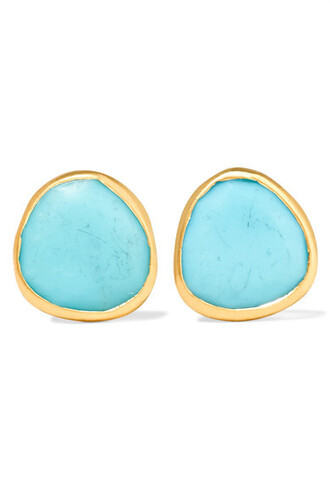 earrings gold turquoise jewels
