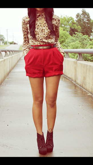 blouse red shorts leopard print shorts shoes