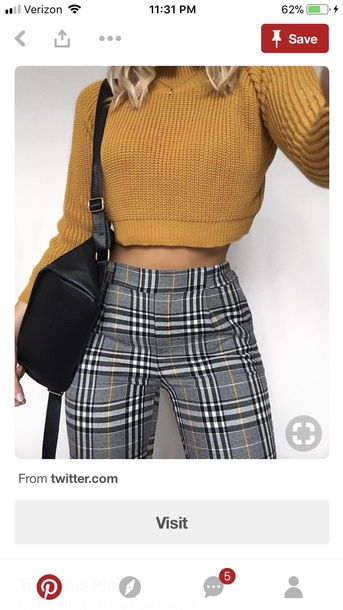 jeans pants pants plaid yellow black and white gingham
