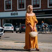dress,maxi dress,off the shoulder,yellow dress,slide shoes,bag,necklace