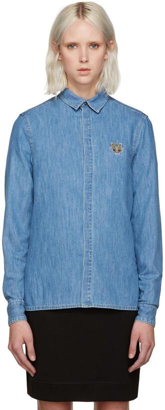 shirt tiger shirt denim tiger blue top