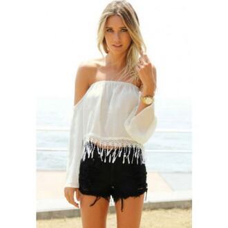 top long sleeve tassel blouse white blouse tassel top