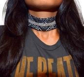 jewels,choker necklace,black,rhinestones,necklace,black choker,boho jewelry,jewelry,bandana,bandana print,silver