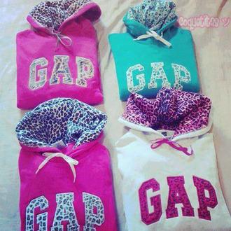 sweater white pink gap leopard print multi-colored light blue