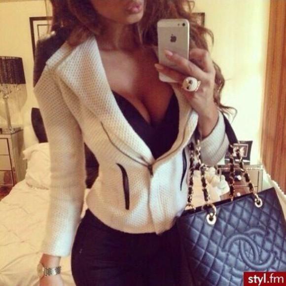 jacket white jacket girly classy and fabulous