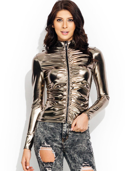 jacket women gold zipper ruched ruche space age