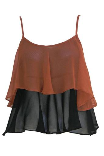 Womens Loleen Chiffon Layered Top in Rust | Pop Couture