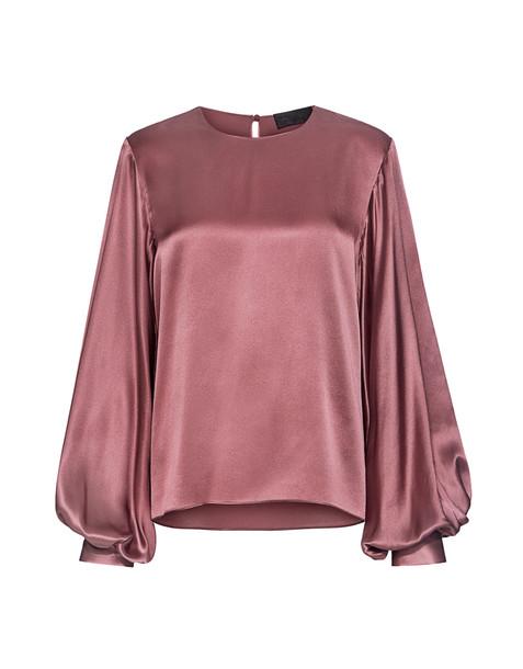 Nili Lotan blouse back open open back silk pink satin top