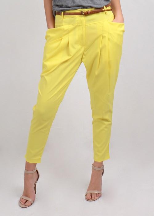 Waisted yellow draped trouser pants w/ belt