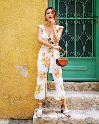 jumpsuit tumblr for love and lemons cropped jumpsuit bag mini bag chloe sandals white sandals mid heel sandals shoes