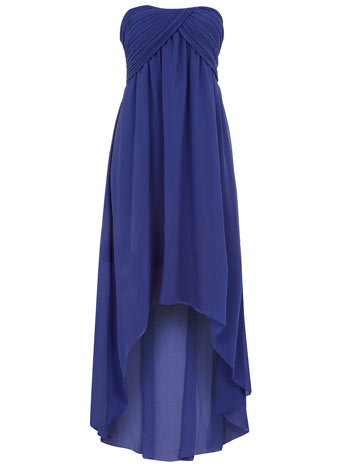 Blue ruched bandeau dip dress