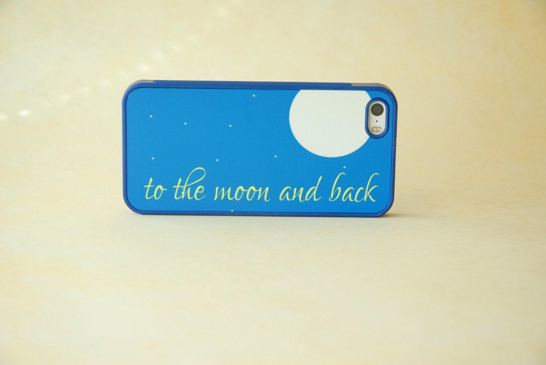 Alla luna e ritorno blu Royal personalizzate iPhone 4 Case, iPhone 5 caso, Samsung Galaxy caso